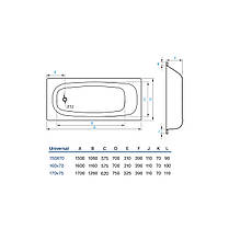 Ванна Koller Pool Universal, 160x70, с anti-slip, с отв., фото 3