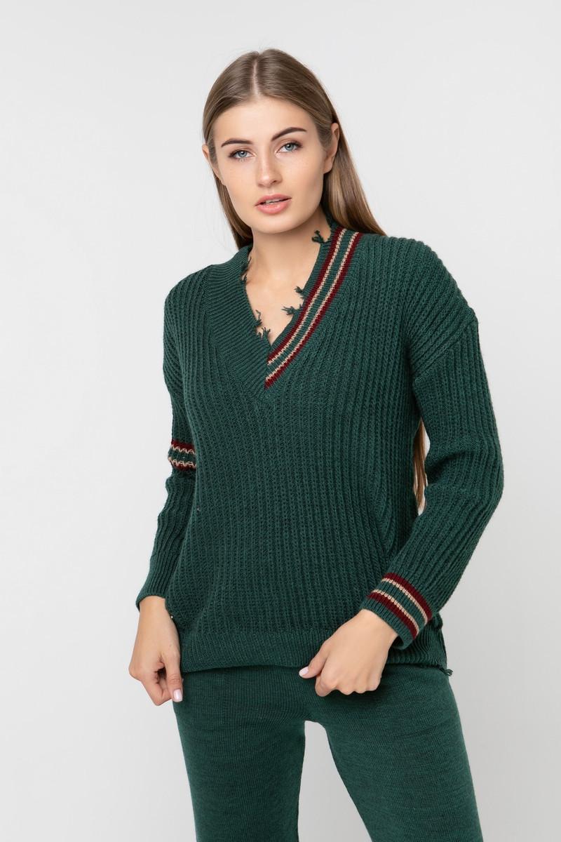 Вязаный пуловер с ассиметричным рисунком и декоративными элементами. Цвет зеленый, 42/44