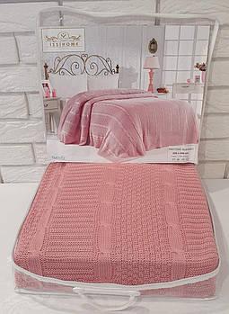 Плед вязаный Issihome Розовый 220х240