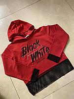 Стильный подростковый свитшот для девочки с сеткой Black White размер 8-14 лет, цвет уточняйте при заказе, фото 1