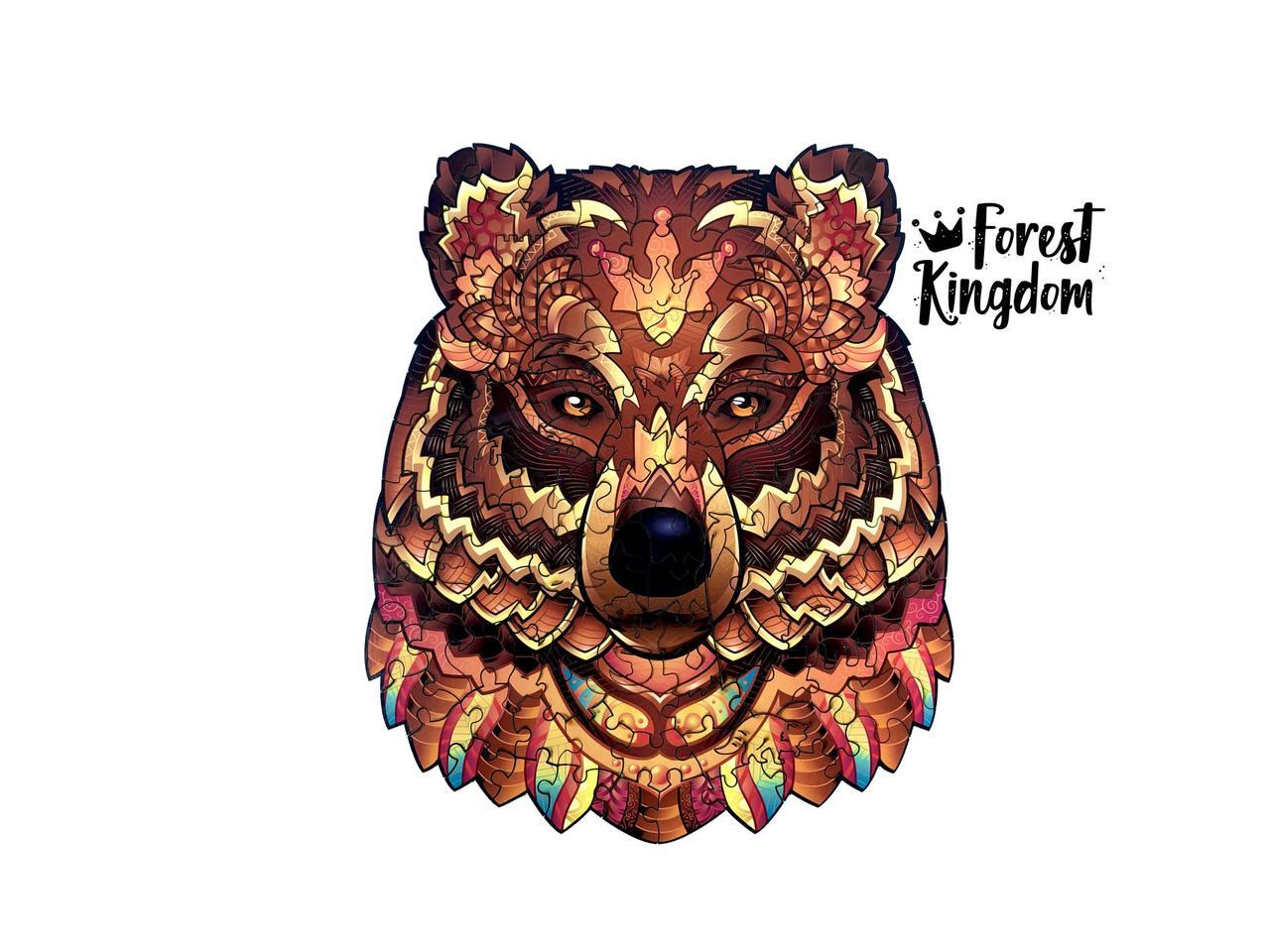 Дерев'яний пазл Потужний Ведмідь. Фігурний пазл Ведмідь в тубусі розмір XL 33 х 28,5 см