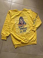 Стильный подростковый свитшот-худи для девочки на манжете Dont Smile размер 9-14 лет, цвет уточняйте при заказ, фото 1