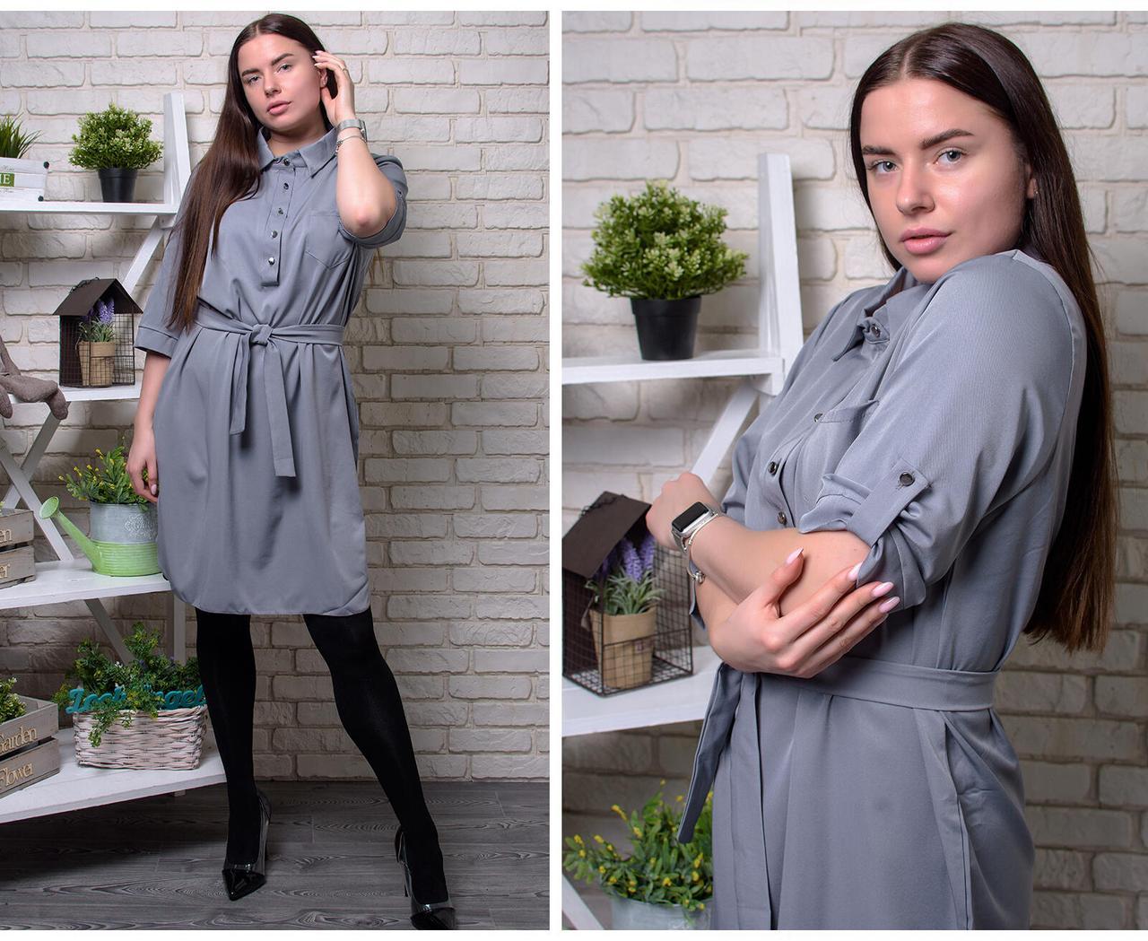 """Стильное женское платье-рубашка на пуговках, ткань """"Костюмная"""" 52, 54 размер 52"""