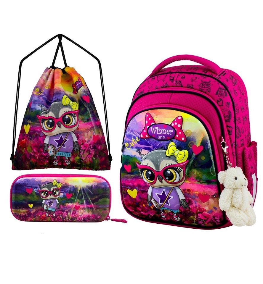 Ортопедический школьный рюкзак для девочки каркасный в 1-3 класс с пеналом и сумкой для сменки Winner One 5001