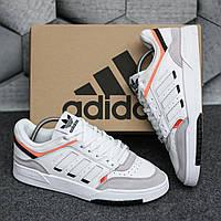 Мужские кроссовки Adidas Drop Step Low White Orange (адидас дроп степ, белые/оранжевые)