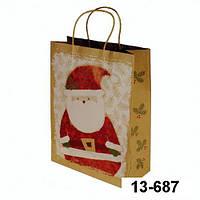 """Подарочный новогодний пакет """"Санта Клаус""""крафт"""