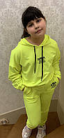 Спортивный подростковый костюм на манжетах для девочки Nasa 10-16 лет, ярко-желтого цвета, фото 1