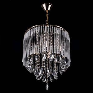 Класична кришталева люстра на ланцюгу на 4 лампочки (золото) P5-E1440/4/