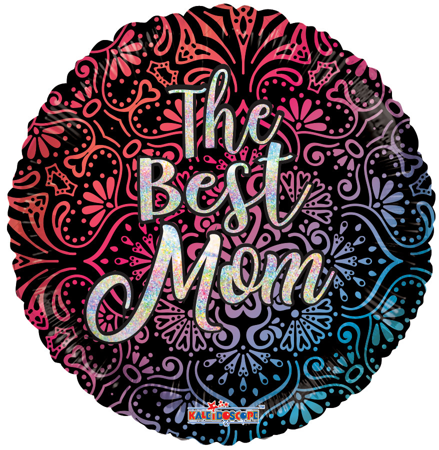 """К 18"""" The Best Mom Mandala Hollographic Foil Balloon. Фольгированный шар голографик Лучшая мама"""