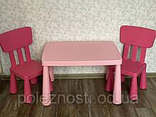 Б/У Комплект ІКЕА MAMMUT МАММУТ стіл та 2 стільчика (в рожевому кольорі)
