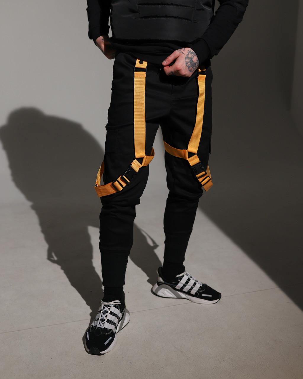 Карго штаны (джоггеры) мужские черные с оранжевыми лямками бренд ТУР модель Киоши