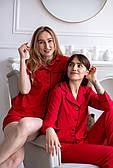 Пижама женская из софта с кантом красная