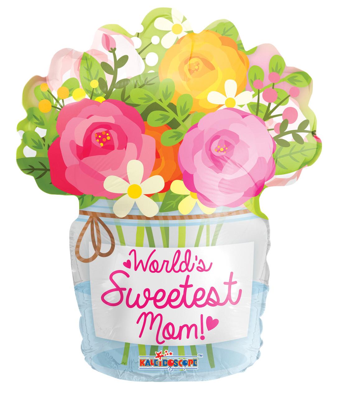 """К 18"""" Mom Mason Jar Shape Balloon. Шар воздушный фольгированный Букет для мамы"""