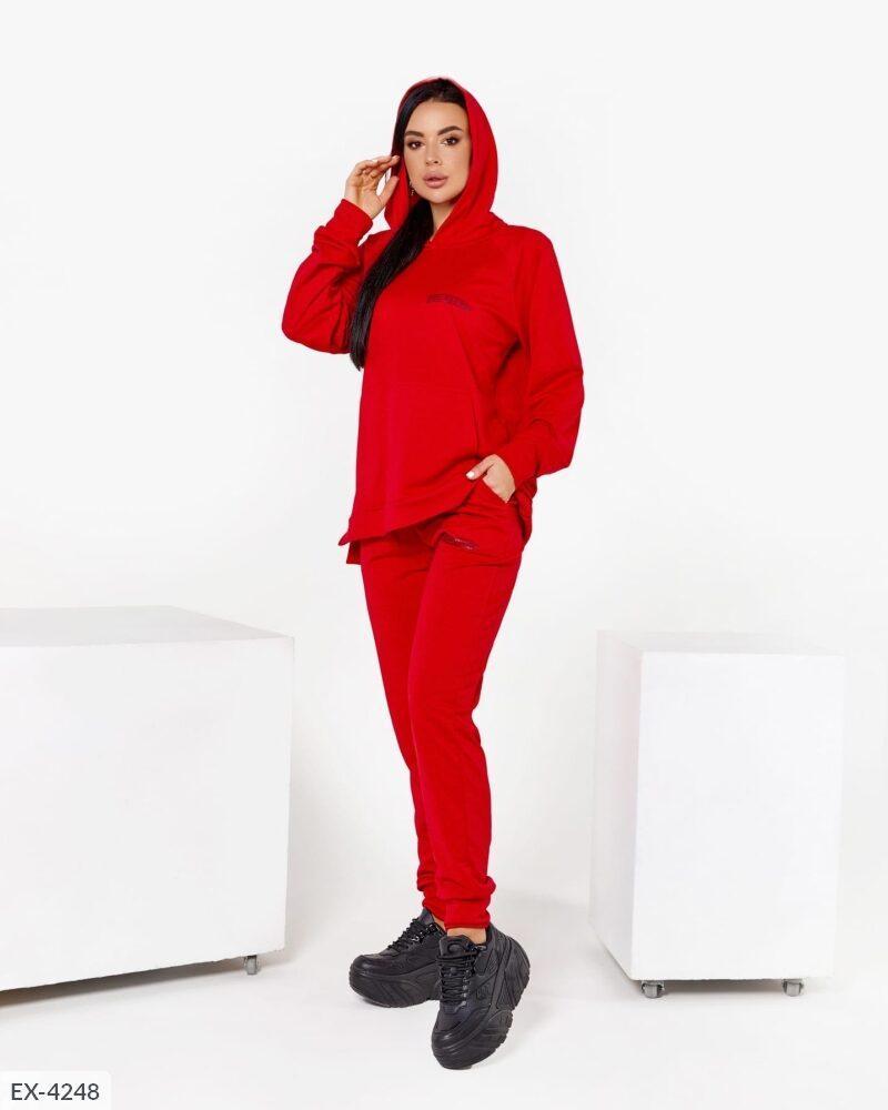 Жіночий модний спортивний костюм з трикотажу двухнитки з капюшоном р-ри 42-48 арт 639