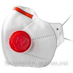 Респіратор Маска Мікрон FFP3 з клапаном 100 шт Білий з червоним (20125)