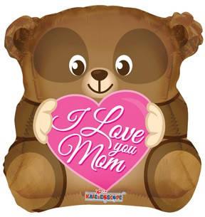 """К 18"""" Love You Mom Bear Shape. Шар воздушный фольгированный медвежонок Я люблю тебя, мама"""