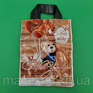 Пакет с петлевой ручкой 25*30 Мишка Рендпако (25 шт), фото 2