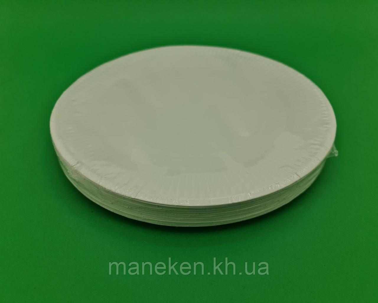 Тарелка бумажная белая D-15.5 см (100)*2 (100 шт)