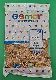 """Воздушные шары металлик  золото 10"""" (25 см) Gemar 100 шт (1 пачка)"""