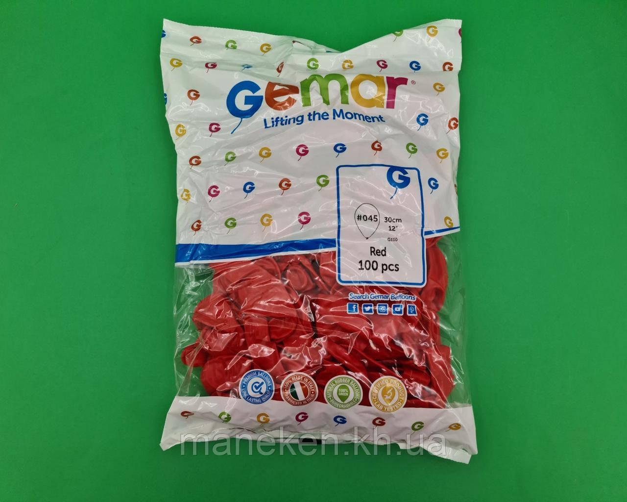 """Повітряні кульки пастель червоні 12"""" (30 см) 100 шт Gemar (1 пач.)"""