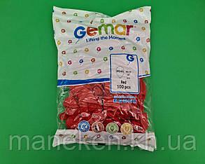 """Повітряні кульки пастель червоні 12"""" (30 см) 100 шт Gemar (1 пач.), фото 2"""