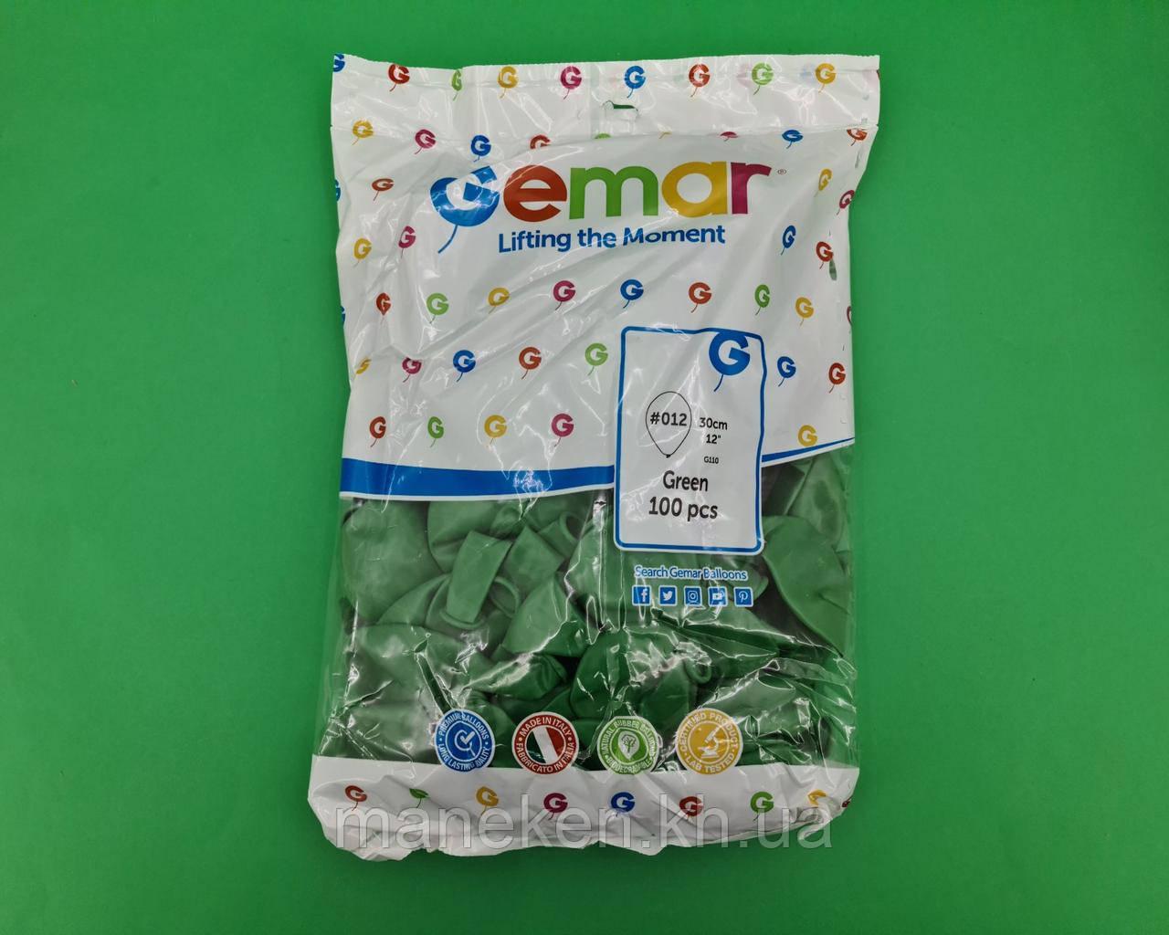 """Повітряні кульки пастель зелені 12"""" (30 см) 100 шт Gemar (1 пач.)"""