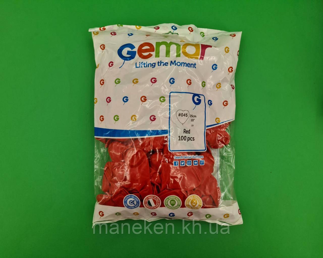 """Воздушные шары сердце 10"""" (25 см) красное пастель 100 шт (1 пач)"""