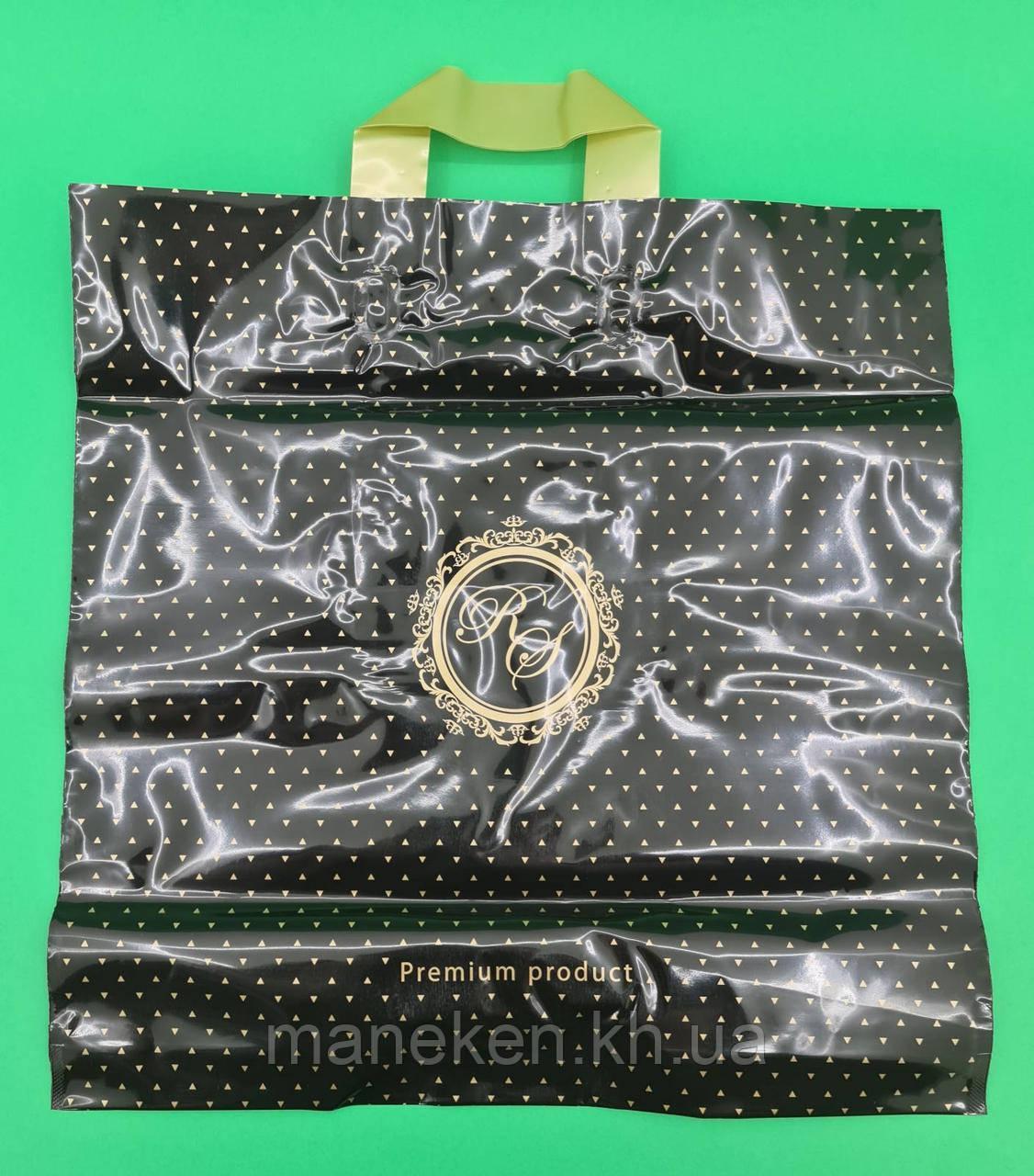 Пакет з петлевий ручкою 40*40 Лілія преміум чорний (25 шт)