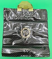 Пакет з петлевий ручкою 40*40 Лілія преміум чорний (25 шт), фото 2