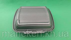 Ланч-бокс з спіненого полістиролу з кришкою (250*210*70) Чорний HP-1 (125 шт)