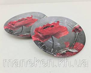 """Паперова тарілка з малюнком 18см""""№ 31""""Мак 10шт (1 пач.), фото 2"""