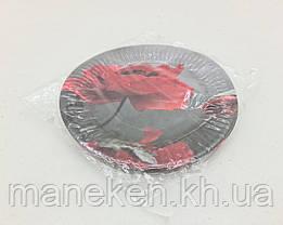 """Паперова тарілка з малюнком 18см""""№ 31""""Мак 10шт (1 пач.), фото 3"""