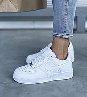 Женские кроссовки Nike Air Force White 1 07 One / Форсы Найк Аир белые низкие кожаные