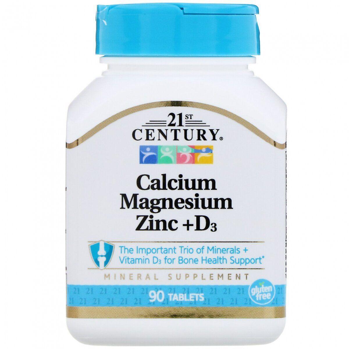 21st Century Calcium Magnesium Zinc + D3, Кальцій, магній, цинк + Д3 (90 таб.)