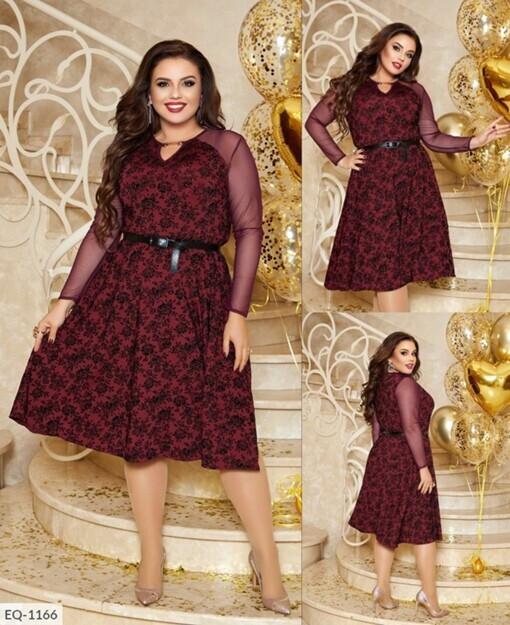 """Романтичное женское платье приталенного кроя, ткань """"Трикотаж с напылением бархата"""" 58 размер"""