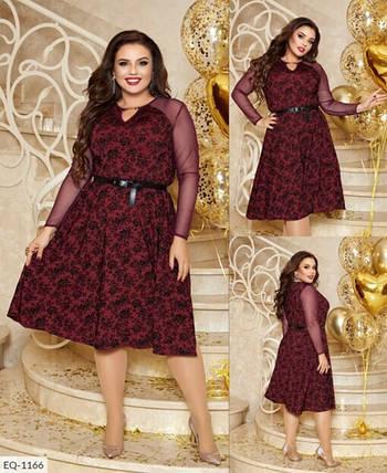 """Романтичное женское платье приталенного кроя, ткань """"Трикотаж с напылением бархата"""" 58 размер, фото 2"""