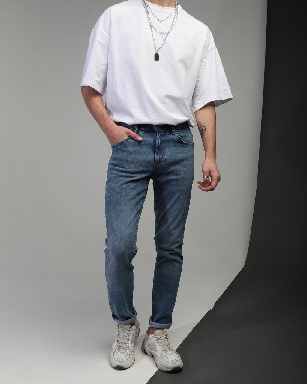 Джинсы мужские зауженные синие от бренда Тур модель Слим TУRWEAR