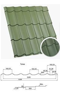 Металочерепиця матова для даху Топаз Метал 0,45 коричнева, зелена, червона, графіт