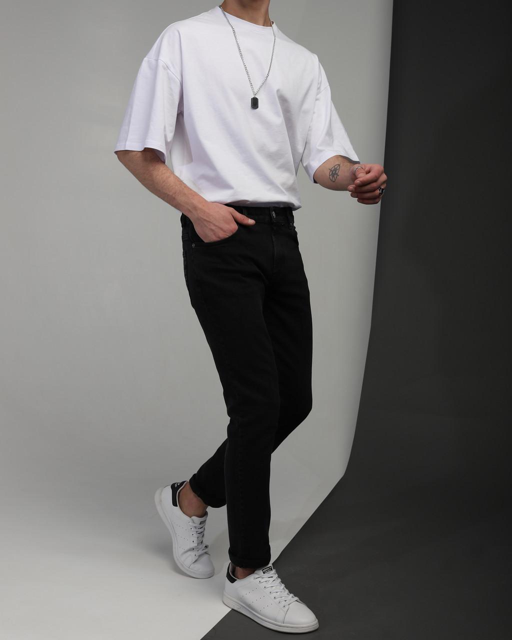 Джинсы мужские зауженные черные от бренда Тур модель Слим TУRWEAR
