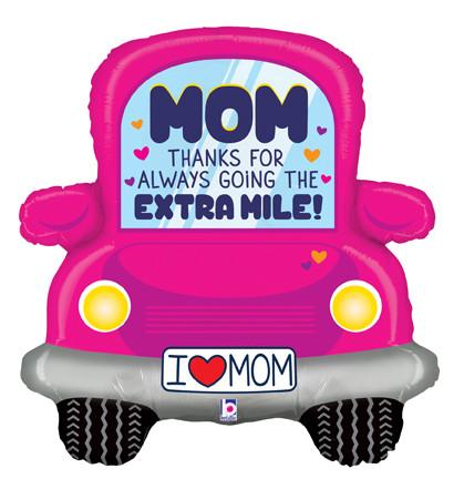 """BT 31"""" Foil Shape Thanks Mom Car. Фольгированный шар фигура Машинка Спасибо, мама, В УП"""