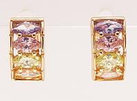 """Серьги XP Позолота 18К колечки """"Дорожки цветных кристаллов"""", фото 1"""