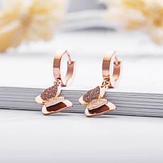 """Красиві дитячі сережки висульки """"Метелики"""" медична сталь позолота 18К, фото 3"""