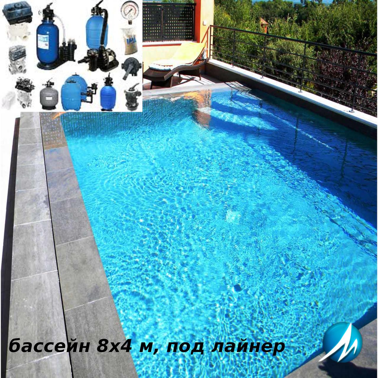 Комплект обладнання для бетонного басейну 8х4 м з обробкою лайнером
