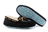 Зимние мокасины женские UGG Dakota Slipper (угги, угг,оригинал) черные на овчине