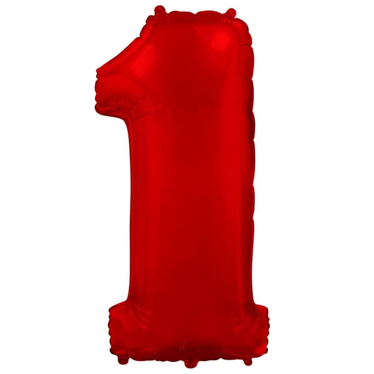 """F цифра 1 40"""" металік червона. Куля фольгований"""