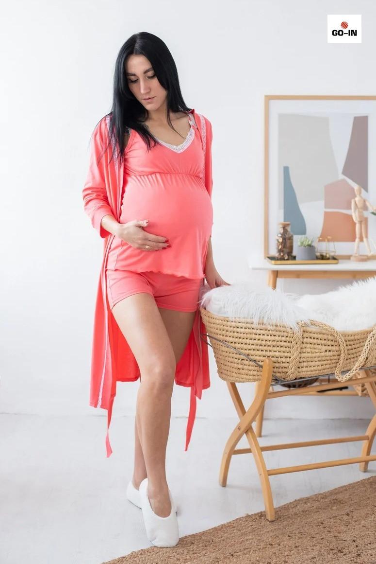 Женский комплект халат и пижама майка и шорты для кормящих мам коралловый р.44-52