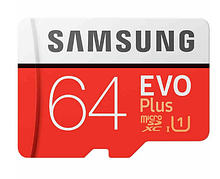 Карта пам'яті SAMSUNG Plus EVO Class 10 Micro SD 64 Gb MB-MC64HA/CN для телефону, планшета і з адаптером