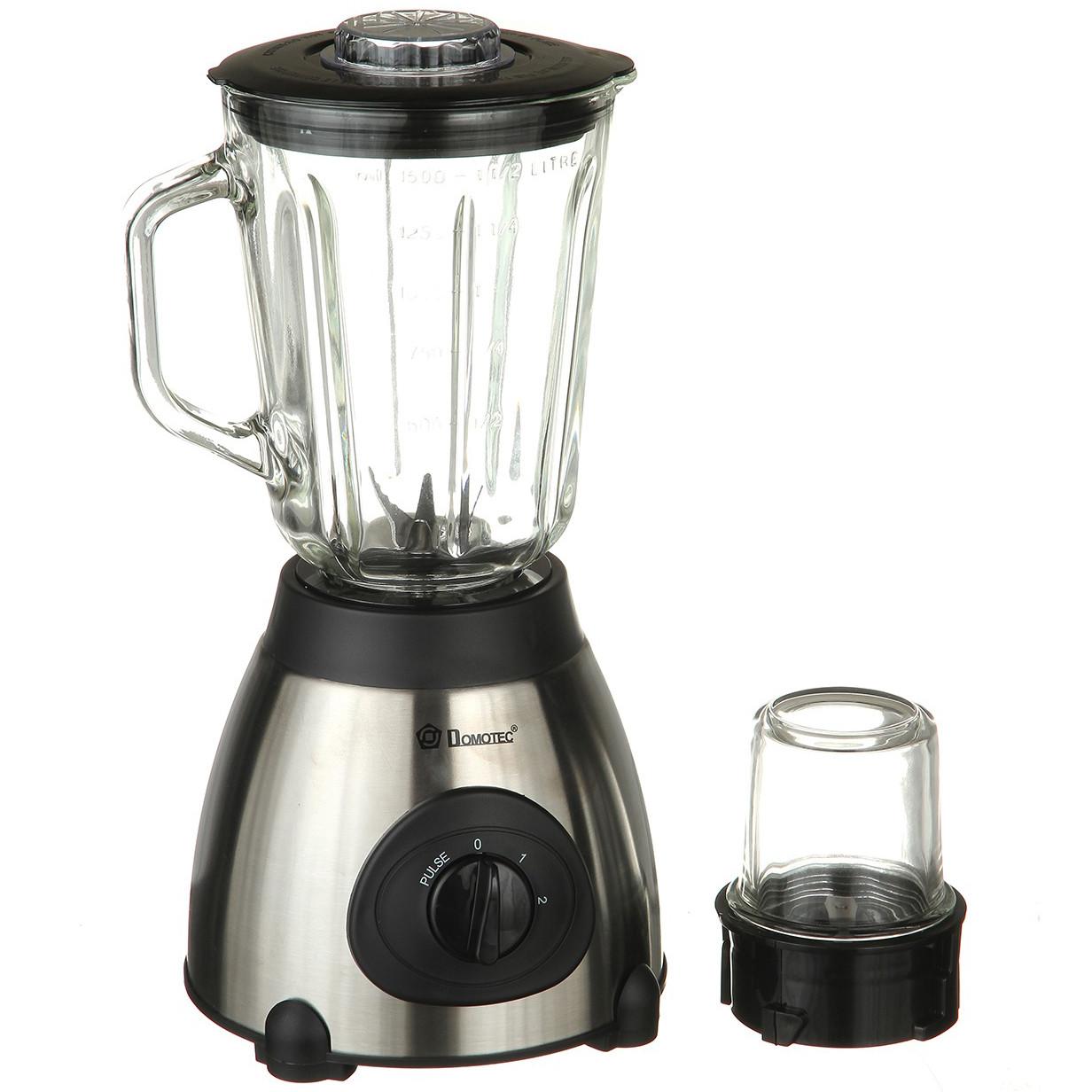 Блендер подрібнювач стаціонарний з чашею Domotec 1000 Вт + насадка кавомолка
