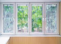 """Декоративная матовая пленка на окна и перегородки """"Синие листочки"""" Zatarga от соседей,разделитель пространства"""