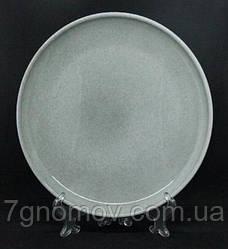 Тарелка большая обеденная керамическая бежево-серая Мрамор 28 см